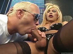 Vivacious, Young Shemale With Long, Blonde Hair Enjoying A Mind-Blowing Anal Fuck