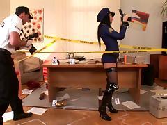 Police, Brunette, Cop, Costume, Couple, Hardcore