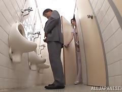 Toilet, Asian, Blowjob, Couple, Cum in Mouth, Cumshot