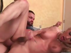 Blonde shemale Juliette Stray gets assfucked hard