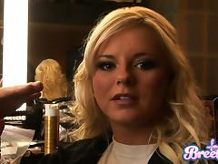 Two divine girls Isis Taylor and Bree Olson in a backstage scene
