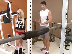 Busty blonde princess Helly Hellfire blows her fitness instructor