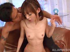 Skinny Japanese chick gets her hairy pussy banged from behind