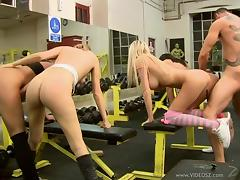 Delicious Babes Have Group Sex With One Guy In The Gym