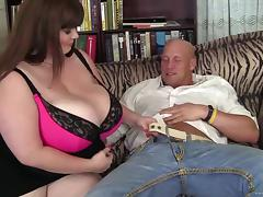 Bosomy BBW brunette Lexxxi Luxe gets fucked by bald dude