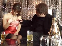 Japanese AV Model horny milf in stockings gets dick ride