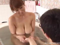 Exquisite Cougar Takes A Soapy Bath With A Naughty Man