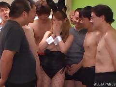 Beautiful Asian Babe Gets Gangbanged And Bukkaked