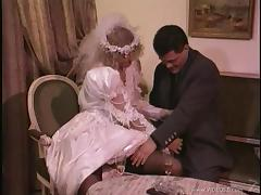 Blonde birde is fucked silly by wearing her wedding dress