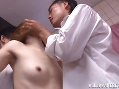 Azusa Itagaki gets her hairy pussy smashed in a threesome
