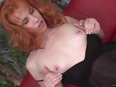 Fishnet Wearing Redhead Milf Gives Headjob And Takes Cock In Cunt