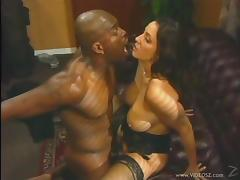 Amazing Brunette Has Interracial Sex In A Retro Video