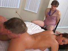 Cuckold guy watches his wife being fucked silly