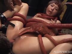 Japanese bitch Elly Arai gets her cunt fucked by a monster