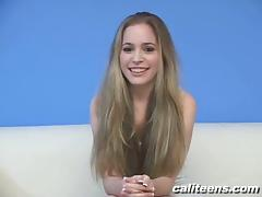Teen Cutie on Her Knees Giving a Handjob and Blowjob