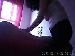 Unshaved Chinese masseuse bonks her client on hidden web camera