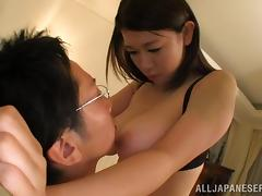 Suzuna Komiya gives a titjob after getting her big boobs licked