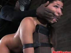 Bounded bdsm skank with anal hook smacked and