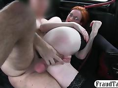 Big boobs redhead in glasses banged in the backseat