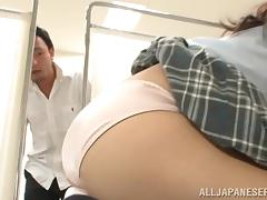 Japanese college girl enjoys upskirt doggy style sex