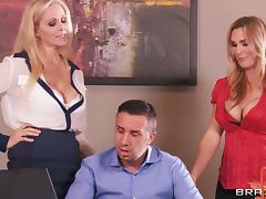 MILF Cougars In FFM Threesome Getting Drilled In The Office