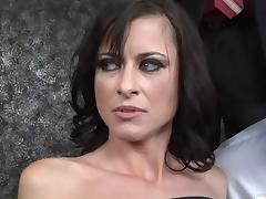 Brunette In Black Fishnets Gets A Facial Cumshot After Being Gangbanged