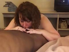 BBW wife taking BBC into her throat
