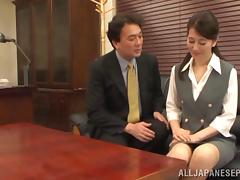 Peachy Asian mature babe enjoys hardcore office sex