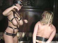 Kora Kryk and Malina May play with a strapon in lesbian bondage scene