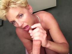 POV blowjob by short-haired blonde mature