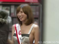 Lusty Japanese milf Julia fucks in a public place