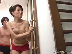 Mako Morishita shows her butt to a guy in a bathroom