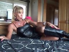 leather slut with dildo panties