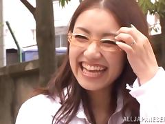 Smart and beautiful Japanese girl gets her mouth and pussy banged