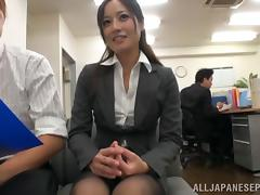 Hot MILF in office suit Minami Asano likes hot sex at work