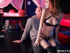Sexy Lingerie-Clad Redhead Enjoying A Hardcore Missionary Style Fuck