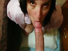 Mature woman sucks boner