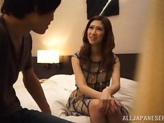 Pleasing Asian Maiden With Long Hair Giving Her Guy Blowjob