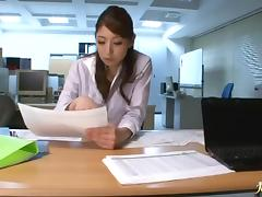 Office lady Hina Akiyoshi on her knees sucking cock and fucking hard
