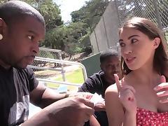 Tiffany Doll sucks and rides two black schlongs in MMF clip