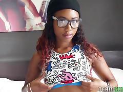 hipster black teen rubs herself while sucking cock