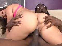 A big black guy fucks one hot Asian slut
