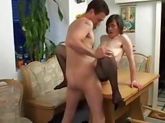 Beauty mom with big saggy tits, hairy cunt & guy