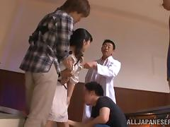 Asian hot ass chick Azusa Ishihara gets into a nasty gangbang
