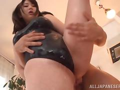 Lovely chick Homare Momono with big tits gets her moist body teased
