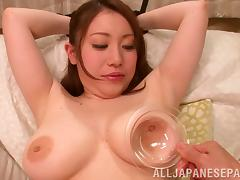 Hot milf with big tits Akane Mizusaki enjoys toy insertion and tits squeezing