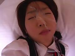 Young japanese girl sucks for nice facial