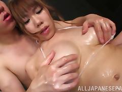 japanese cowgirl fucked hard and get cum on her tits