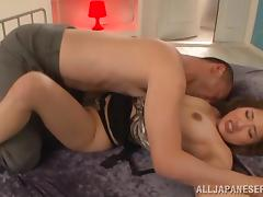 Misa Kudou gets fucked from behind after giving a deepthroat blowjob
