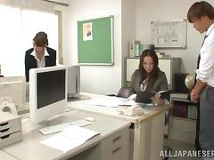 Japanese group sex with blowjob and handjob in the office